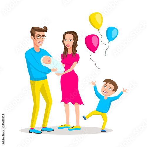 Mom Dad Boy And Baby Girl Colored Vector Modern Flat Design Illustration Composition Of Cartoon Characters Happy Young Family The Concept Of Family Holiday Buy This Stock Vector And Explore Similar