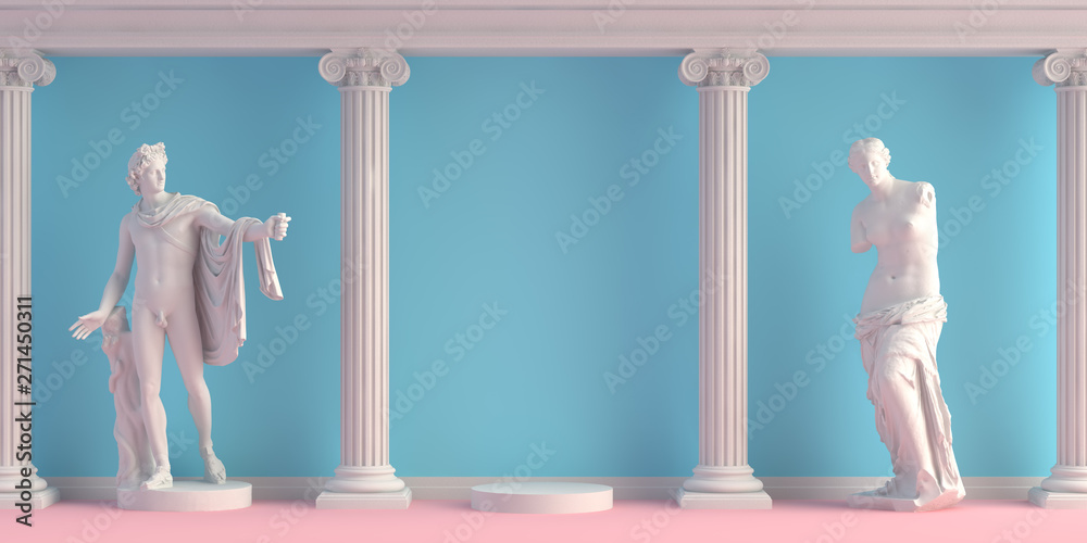 Fototapety, obrazy: 3d-illustration of interior with antique statues Apollo and Doryphoros