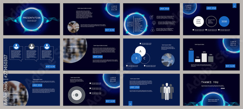 Fototapeta Blue presentation template. Neon circle and wave elements for slide presentations on a dark background. Flyer, brochure, corporate report, marketing, advertising, annual report, banner obraz