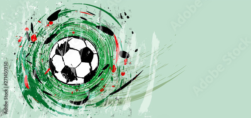 soccer / football, design template, free copy space, with soccer ball. Swirly grunge style vector illustration.