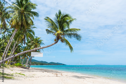 Deurstickers Strand Beautiful tropical beach with palm trees
