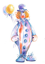 Circus Clown, Watercolor Illustration, Sketch