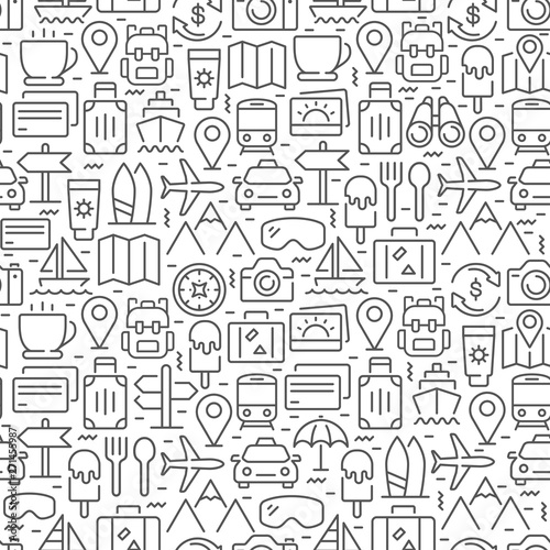 Fotografia, Obraz  Travel related seamless pattern with thin line icons