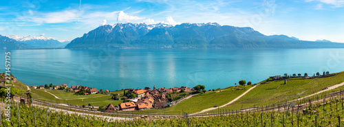 Panoramic view of vineyards in Lavaux region, near Vevey, over Lake Leman (Lake Canvas Print