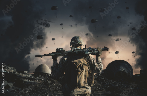 Military helicopters and forces in destroyed at sunset