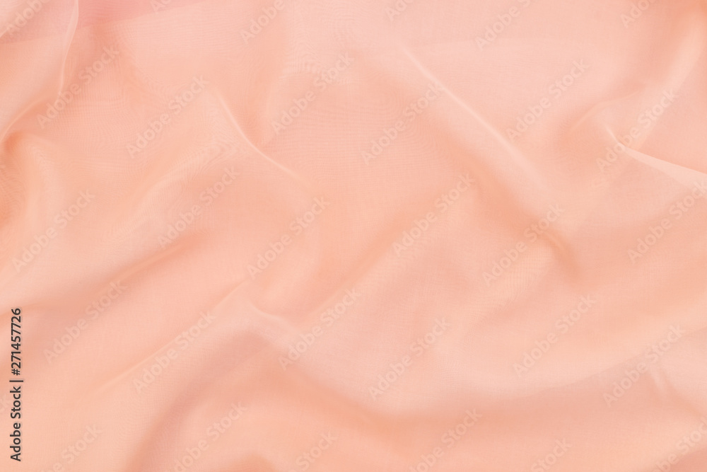 Fotografie, Obraz Peach coral soft chiffon fabric texture