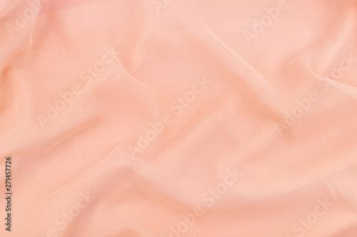 Fototapeta  Peach coral soft chiffon fabric texture