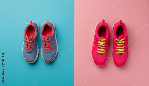 A studio shot of running shoes on bright color background Tapéta, Fotótapéta