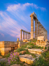 Evening Light On Stones And Columns Of Temple Of Poseidon In Greece