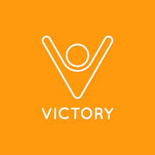 Victory Logo Of Man With Hands...