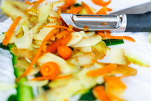 Vegetable Peels Of Carrots, Potatoes And Zucchini Freshly Peeled With A Peeler