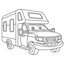 Coloring Page With House On Wheels Rv Trailer