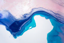 Liquid Paper Blue And Pink Paint Background. Fluid Painting Abstract Texture, Art Technique. Colorful Mix Of Acrylic Vibrant Colors. Creativity And Painting. Background For Design, Printing, Pattern