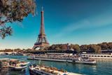 Fototapeta Fototapety z wieżą Eiffla - Eiffel Tower in Paris in tourist season