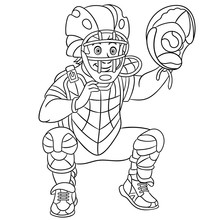 Coloring Page With Catcher Baseball Player
