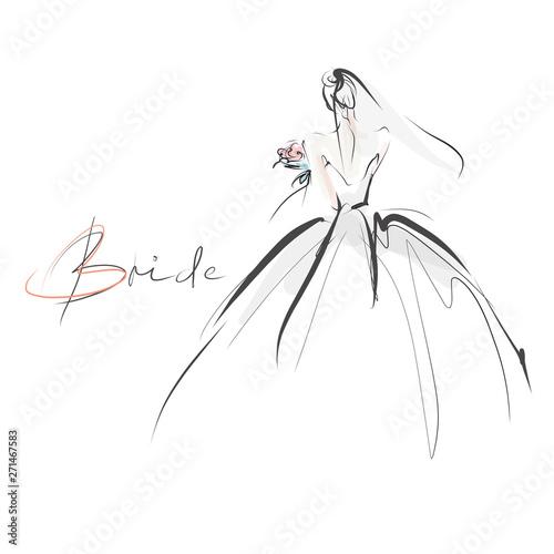 Young beautiful bride in dress Fototapet