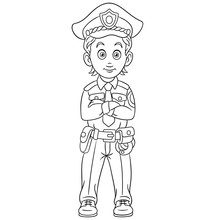 Coloring Page With Policeman Police Man Officer