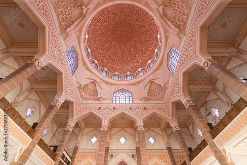 Beautiful interior of Putra Mosque at Kuala Lumpur, Malaysia Canvas Print