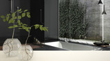 White table top or shelf with glass vase with hydroponic plant, ornament, root of plant in water, branch in vase, house plant, modern blurred bathroom background, interior design
