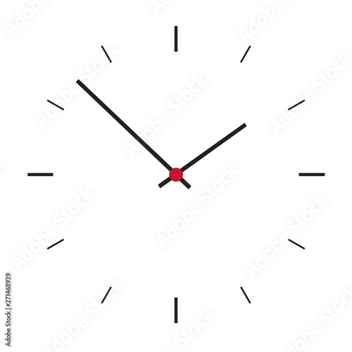 Simple illustration of clock face without numbers with hour and minute hand, iso Fototapeta