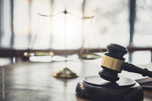 Scales of justice and Gavel on sounding block, object and law book to working wi Canvas-taulu