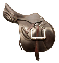 Competitive Saddle Of Dark Brown Leather On A White Background