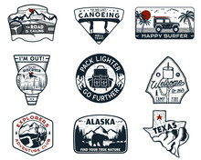 Vintage Hand Drawn Travel Badges Set. Camping Labels Concepts. Mountain Expedition Logo Designs. Retro Camp Logotypes Collection. Stock Vector Outdoor Patches Isolated. Silhouette