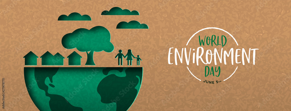 Fototapeta Environment Day banner of green cutout eco city