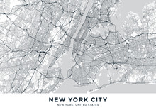 "New York City (NYC, NY) Map. Light Poster With Map Of New York City (New York, United States). Highly Detailed Map Of The ""Big Apple"" With Water Objects, Roads, Railways, Etc. Printable Poster."