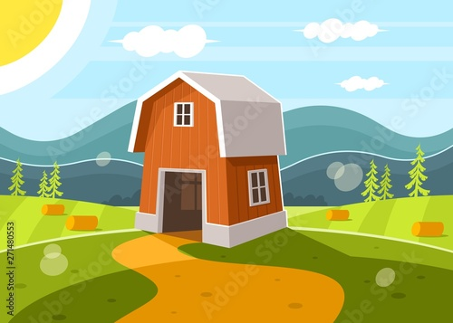 Poster Turquoise Red farm barn on mountain countryside landscape background