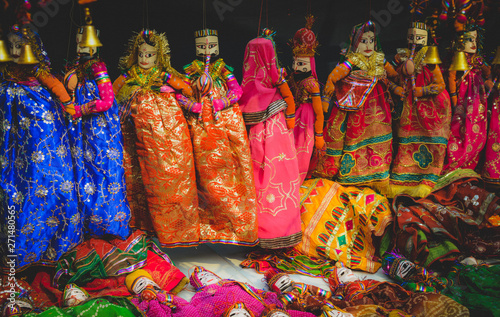 Stickers pour porte Delhi puppet in colourful dress