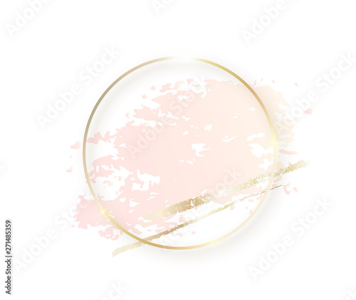 Obraz Gold circle frame with pastel nude pink texture and shadow, golden brush strokes isolated on white background. Geometric round shape border in golden foil for cosmetics, beauty, makeup template - fototapety do salonu