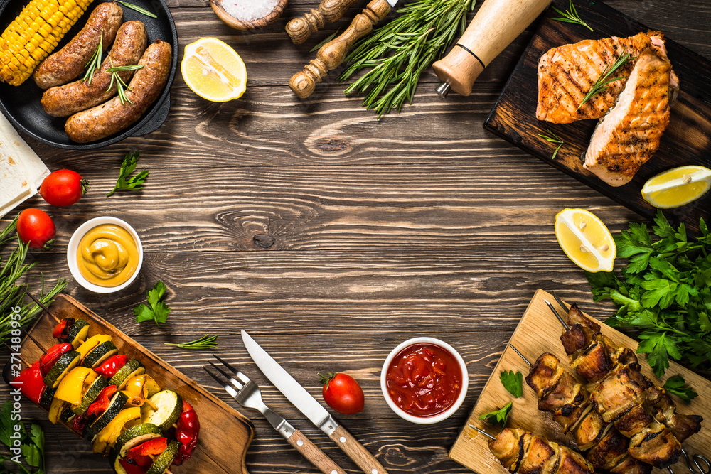 Fototapety, obrazy: Barbeque dish - Grilled meat, fish, sausages and vegetables.