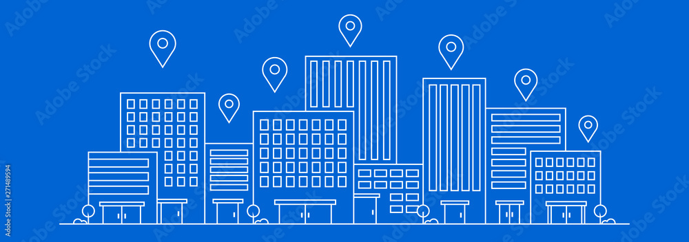 Fototapety, obrazy: Vector thin line city landscape. Position or location building with pin