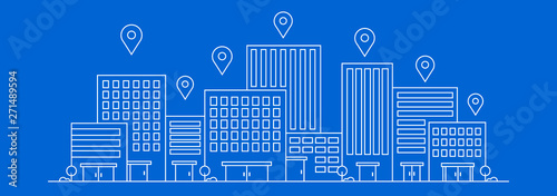 Vector thin line city landscape. Position or location building with pin