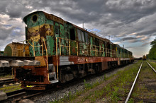 Old Train On Railway