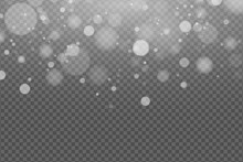 Light Effect Of White Glares Bokeh Isolated On Transparent Background. Bright Glow. Realistic Glitters. Falling Snowflakes Effect. Random Blurry Spots. Vector Illustration