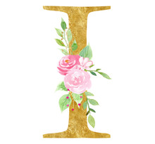 Initial I Letter With Blossom Raster Illustration