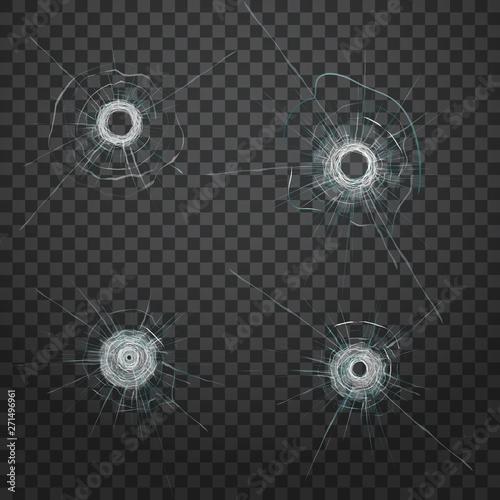 Realistic bullet glass hole. Realistic crack texture. Fototapeta