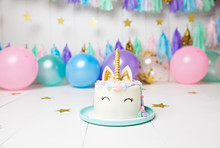 Unicorn Cake With Balloons And...