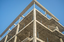 Construction Site Of A New Apartment Building. Concre Structure On Cor