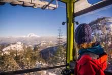 Woman Looking Away From Sea To Sky Gondola In Squamish