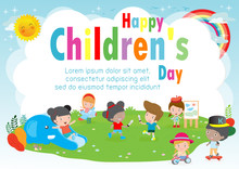 Happy Children's Day Background Poster With Happy Kids Playing In Playground  Vector Illustration