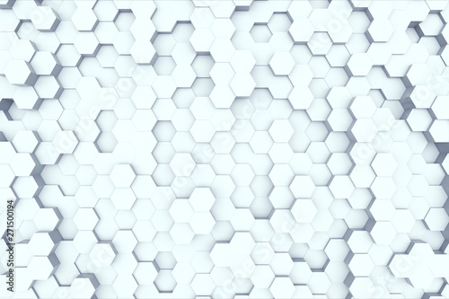 Fototapety, obrazy: Random waving motion abstract background from hexagon geometric surface loop: light bright clean minimal hexagonal grid pattern, canvas in pure wall architectural white. 3d illustration