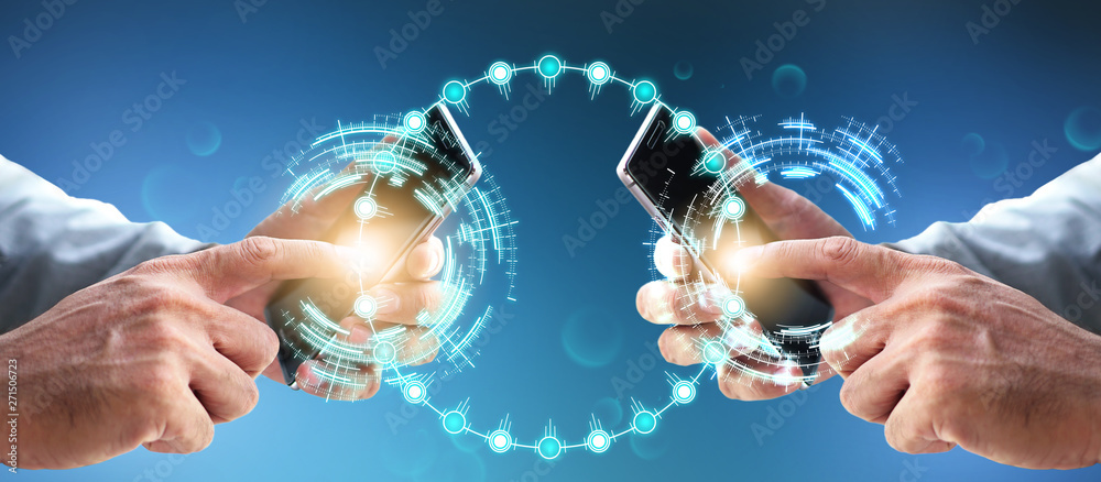 Fototapeta Future blockchain digital financial banking wealth transformation technology. Cashless Innovation using mobile transaction on internet business investment shopping money payment global cloud