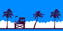 Lifeguard Station On A Beach With Palm On A Blue Sky. Vector Illustration With Tropical Landscape. Summer Card.