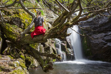 A Girl With A Red Jacket Around Her Waist Sitting On A Branch Of A Curvy Tree Covered By Golden Moss In Front Of A Scenic Forest Waterfall