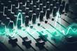 Leinwandbild Motiv Young headphones dj nightlife entertainment concepts equipment