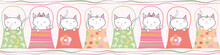 Cute Hand Drawn Cats In Handbags In Pastel Geometric Seamless Vector Border With Subtle Polka Dot Background And Horizontal Ribbons. Great For Children, Birthdays, Party, Invitations, Edging, Labels