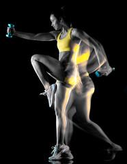 one mixed race woman exerci...